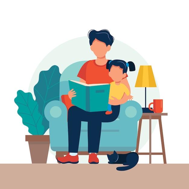 Papà che legge per bambino. famiglia che si siede sulla sedia con il libro. Vettore Premium