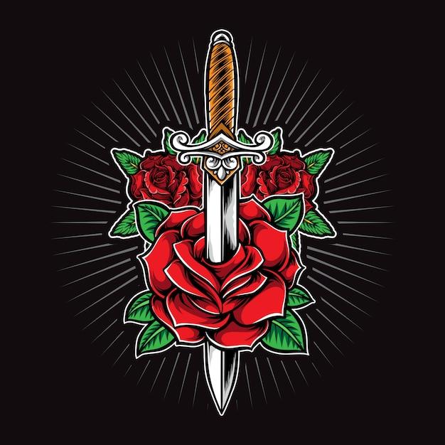 Logo tatuaggio pugnale e rose Vettore Premium