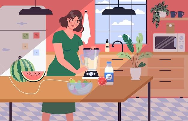 Vita quotidiana durante la gravidanza. giovane donna che si prepara per essere mamma. giovane donna che cucina e mangia cibo sano. bambino in attesa. donna incinta con una grande pancia. Vettore Premium