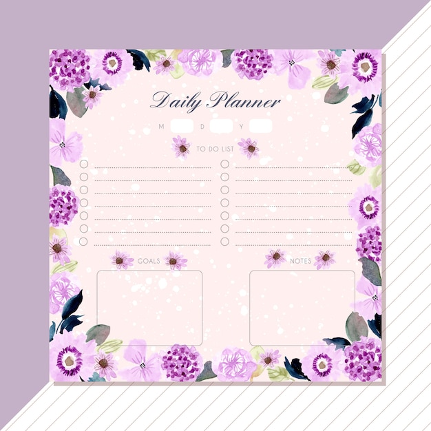Agenda giornaliera con cornice floreale ad acquerello viola. Vettore Premium
