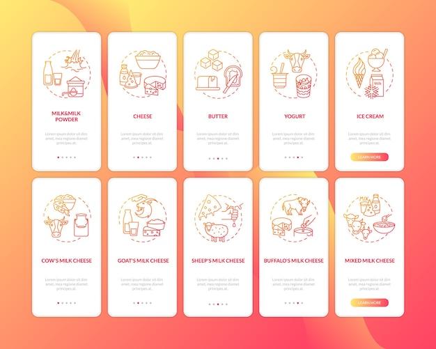Industria lattiero-casearia rossa sulla schermata della pagina dell'app mobile rossa sull'imbarco con concetti impostati. Vettore Premium