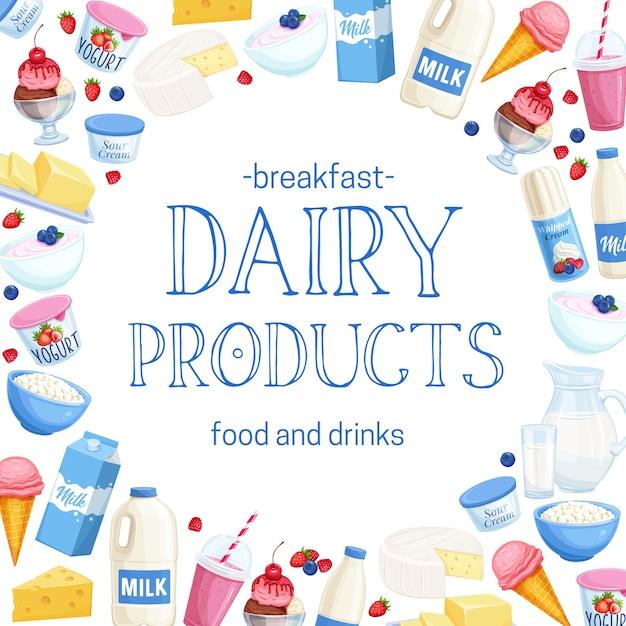 Layout di prodotti lattiero-caseari. ricotta, latte, burro, formaggio e panna acida. yogurt, gelati, frullati, panna montata per prodotti di design shop farm. Vettore Premium