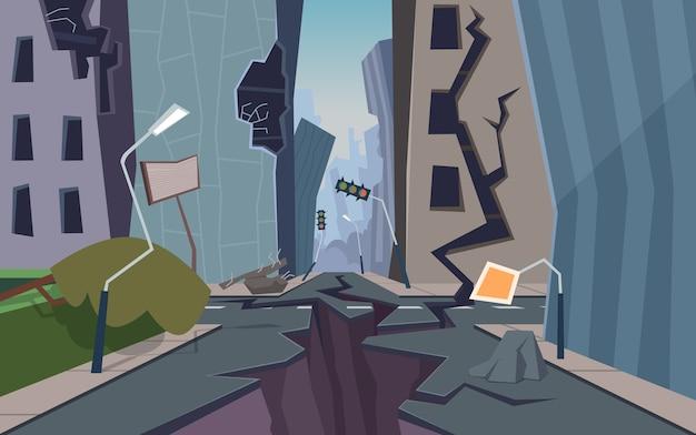 Città danneggiata. il paesaggio urbano distrutto ha rotto il terreno e le case sono crollate Vettore Premium