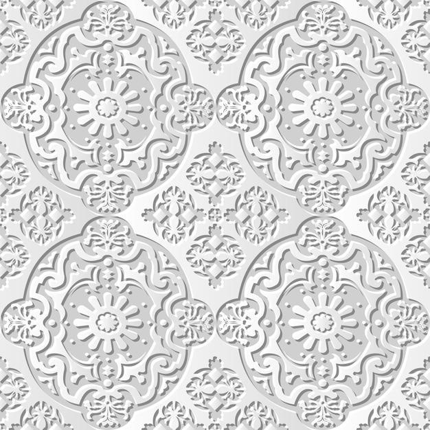 Fiore di caleidoscopio ovale di arte di carta 3d del modello senza cuciture del damasco Vettore Premium