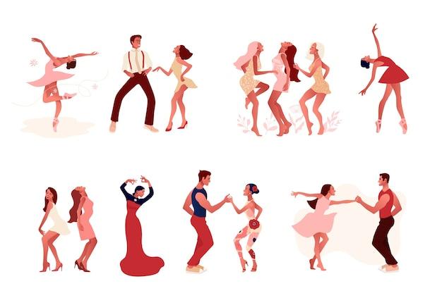 Studio di danza. set di mem positivo attivo felice e donne che ballano. ballerina in tutù, scarpe da punta, coppia che balla salsa, ballerina di flamenco. Vettore Premium