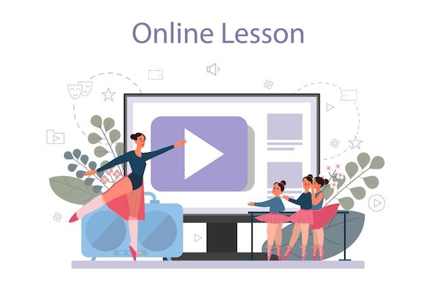 Insegnante di danza o coreografo nel servizio o piattaforma online di studio di danza. corsi di ballo per bambini e adulti. lezione in linea. illustrazione vettoriale Vettore Premium
