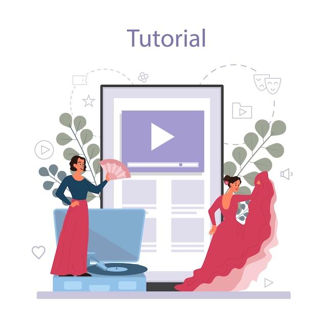 Insegnante di danza o coreografo nel servizio o piattaforma online di studio di danza Vettore Premium
