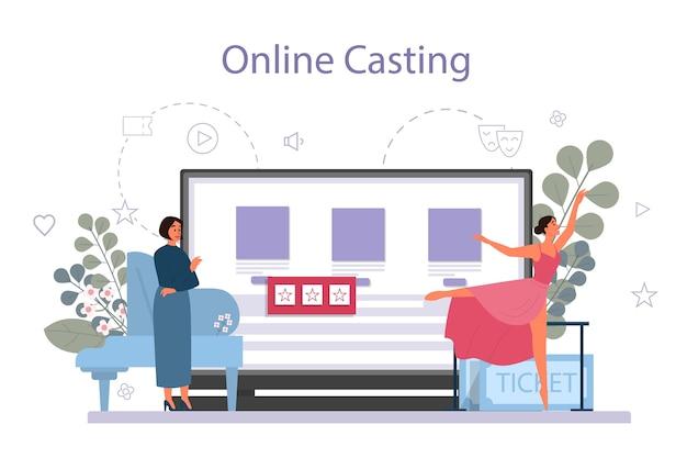 Insegnante di danza o coreografo nel servizio online di studio di danza Vettore Premium