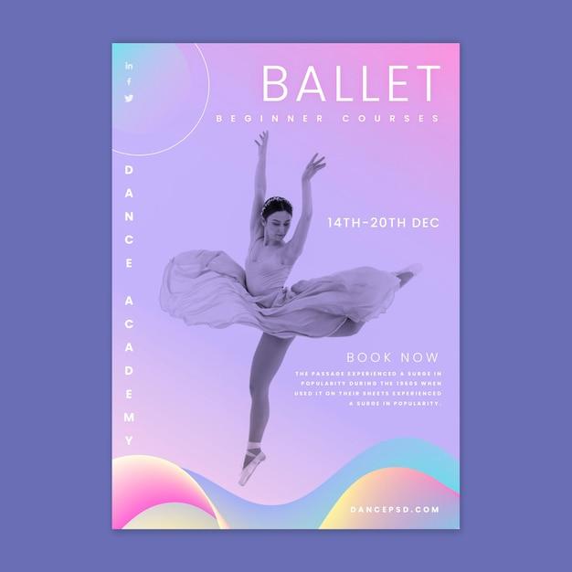 Modello di volantino verticale di balletto danzante Vettore Premium