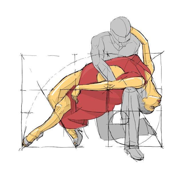 Scuola di ballo espressione posa. coppia danzante abbozzata. illustrazione vettoriale. Vettore Premium