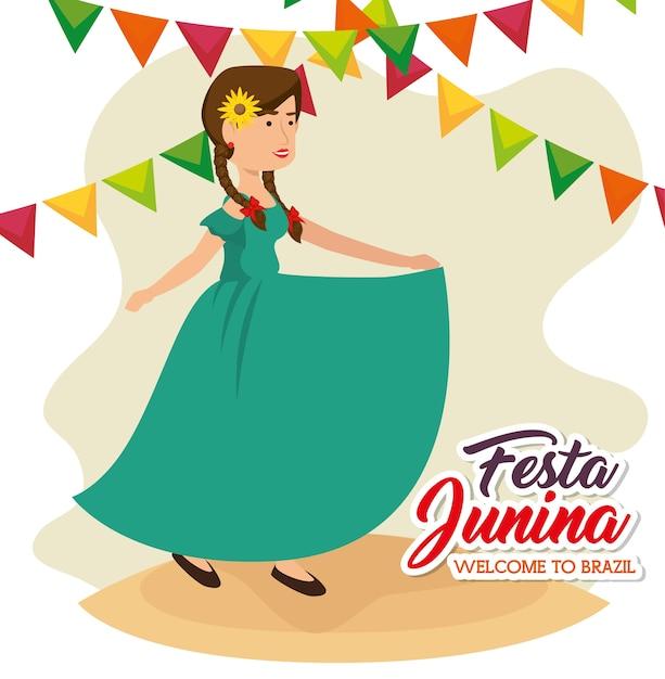 Donna che balla con girasole e banner su sfondo bianco illustrazione vettoriale Vettore Premium