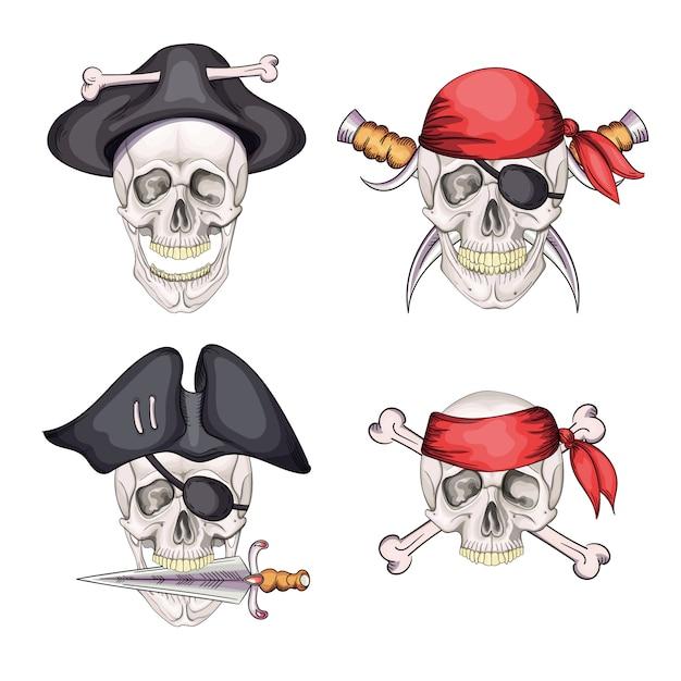 Teschio pirata di pericolo impostato in bandana e cappello per tatuaggio Vettore Premium