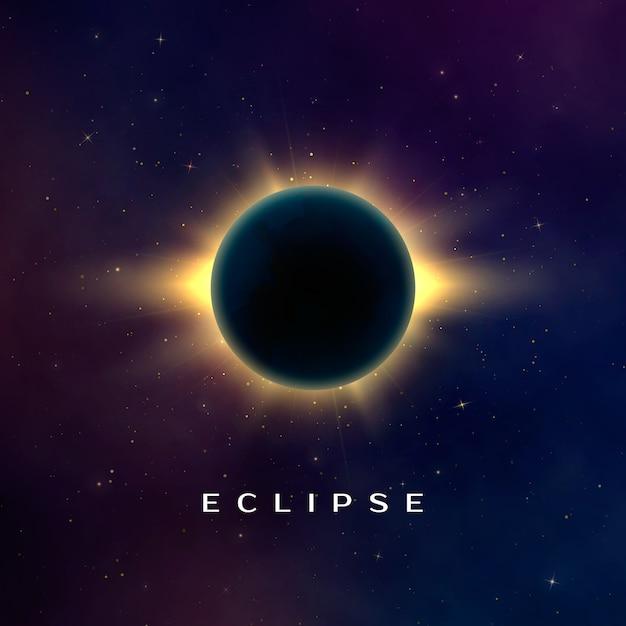 Sfondo astratto scuro con un'eclissi solare. eclissi totale di sole. illustrazione realistica Vettore Premium
