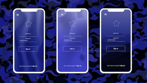 Kit ui web vettoriale blu scuro con cellulare. Vettore Premium