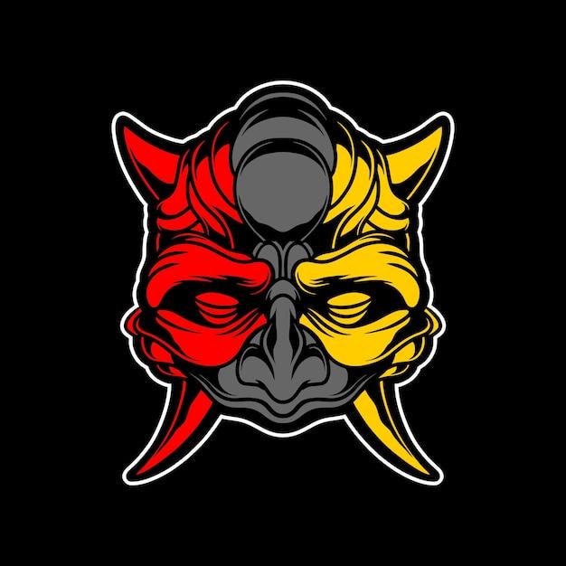 Maschera da demone oscuro Vettore Premium