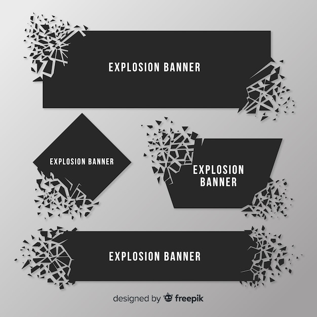 Collezione di banner esplosione scura Vettore Premium