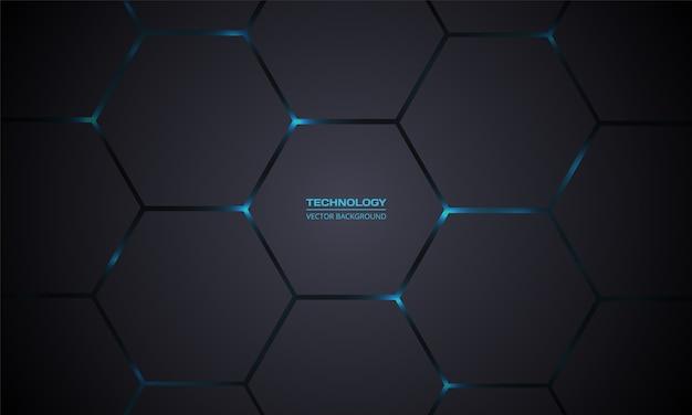 Fondo astratto di tecnologia esagonale grigio scuro. Vettore Premium