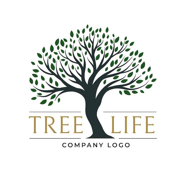 Logo di vita dell'albero di foglie verde scuro Vettore Premium