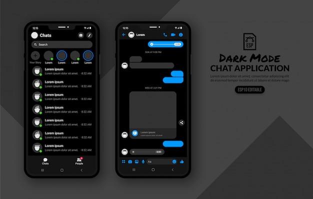 Modalità scura di applicazione di chat mobile, modello di messaggistica per post sui social media Vettore Premium