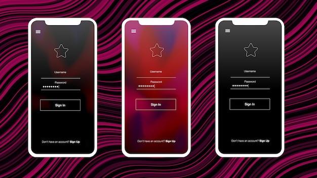 Guida di stile dark pink con schermo del telefono. Vettore Premium