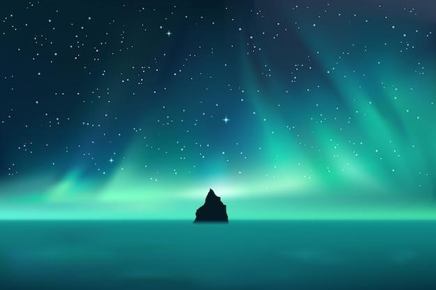 La roccia scura contro l'aurora boreale abbellisce con le stelle Vettore Premium