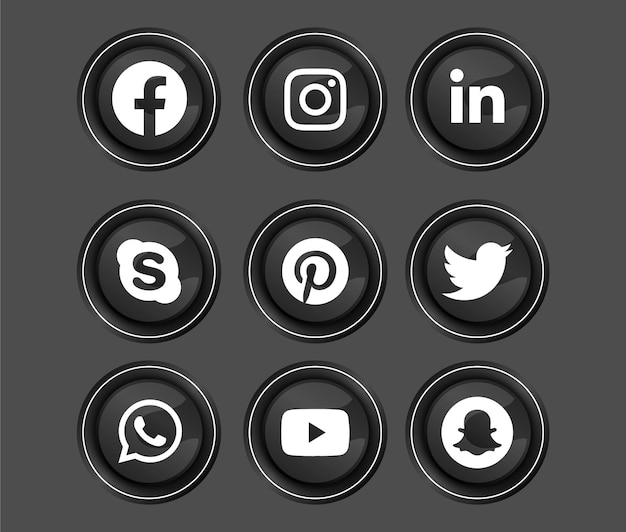 Scuro lucido a tema 3d cornice d'argento lucida rotonda pulsante icona social media Vettore Premium