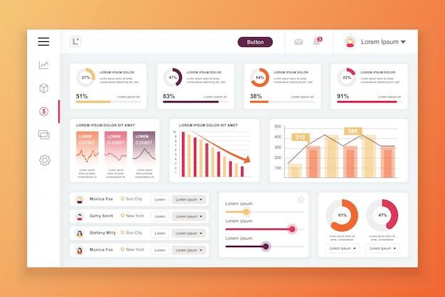 Modello di pannello di amministrazione dashboard con elementi infographic Vettore Premium