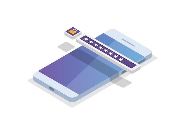 Accesso ai dati, concetto isometrico della password. modulo di accesso sullo schermo. illustrazione. Vettore Premium