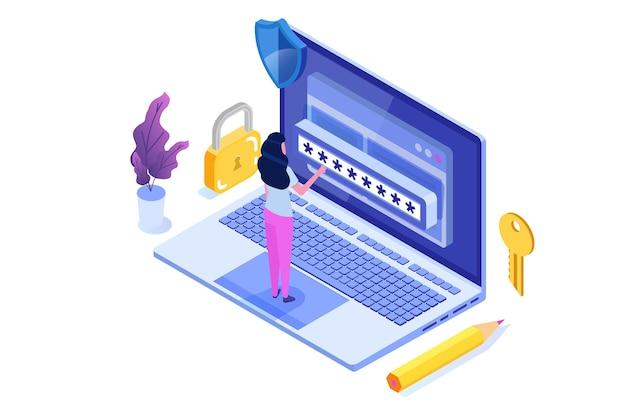 Accesso ai dati, concetto isometrico della password. modulo di accesso sullo schermo. Vettore Premium