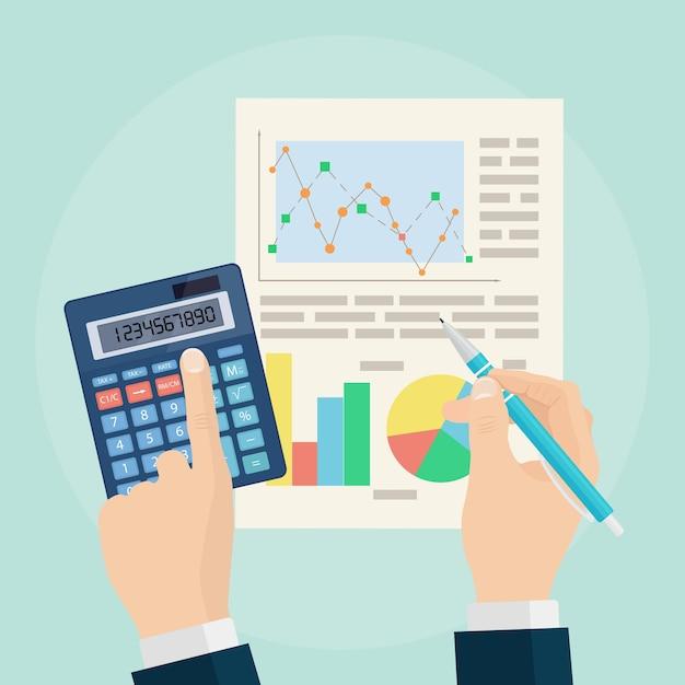 Concetto di analisi dei dati. analisi aziendale. audit finanziario, pianificazione. grafici e grafici. penna e calcolatrice in mano sullo sfondo. Vettore Premium