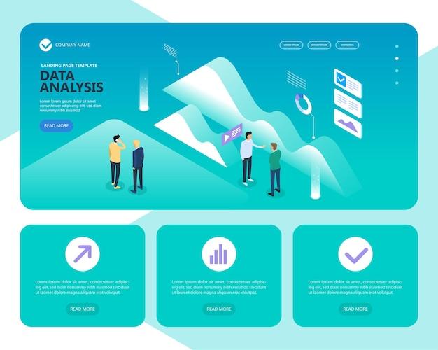 Banner di concetto di analisi dei dati. Vettore Premium