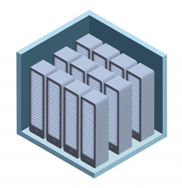 Icona del data center, sala server. illustrazione in proiezione isometrica, su bianco. Vettore Premium