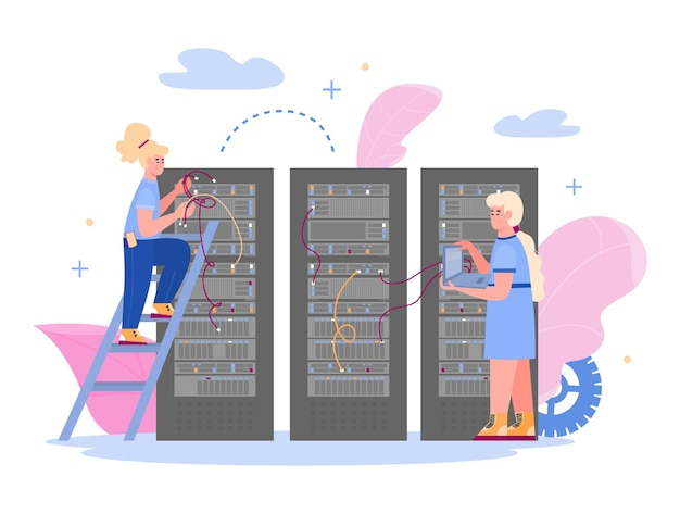 Data center con dipendenti che mantengono il server di hosting Vettore Premium