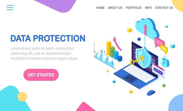 Protezione dati. sicurezza internet, accesso alla privacy con password. pc computer isometrico con chiave, lucchetto, scudo, grafico, grafico. Vettore Premium