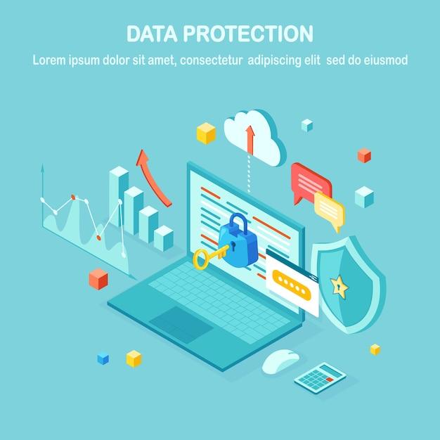 Protezione dati. sicurezza internet, accesso alla privacy con password. pc computer isometrico con chiave, lucchetto, scudo, laptop, grafico, grafico. Vettore Premium