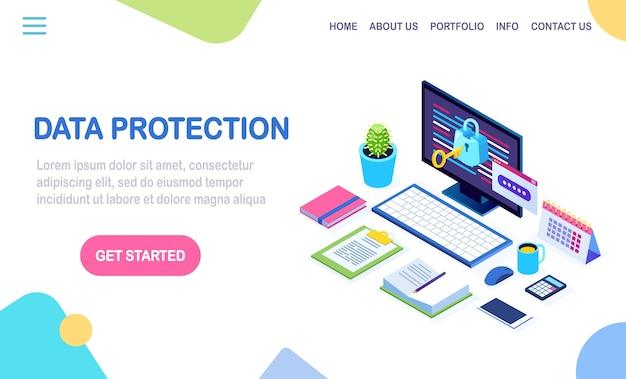 Protezione dati. sicurezza internet, accesso alla privacy con password. pc computer isometrico con chiave, serratura. Vettore Premium