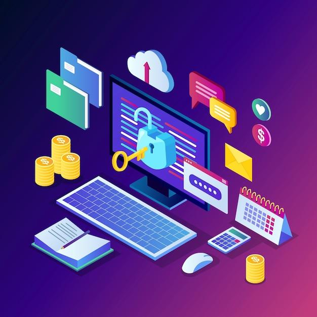 Protezione dati. sicurezza internet, accesso alla privacy con password. pc computer isometrico con chiave, lucchetto aperto, cartella, cloud, documenti, laptop, denaro. Vettore Premium