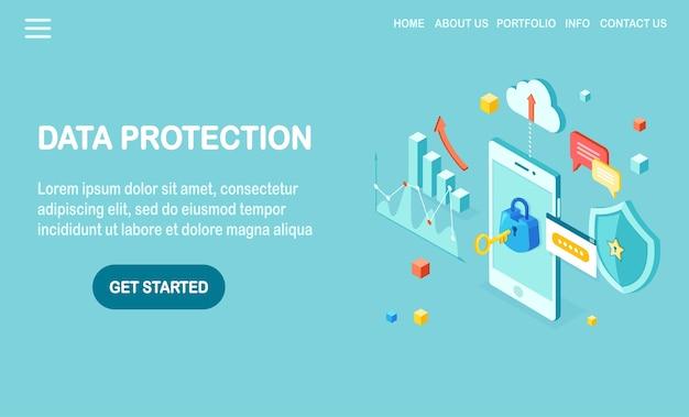 Protezione dati. sicurezza internet, accesso alla privacy con password. cellulare isometrico con chiave, serratura, scudo, nuvola, fumetto, smartphone, soldi, grafico, grafico. Vettore Premium