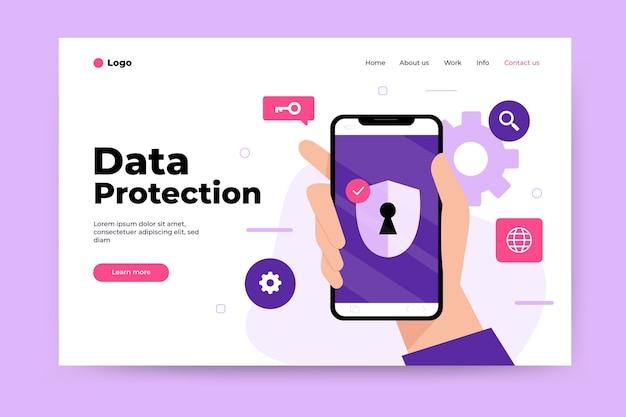 Tema della pagina di destinazione della protezione dei dati Vettore Premium