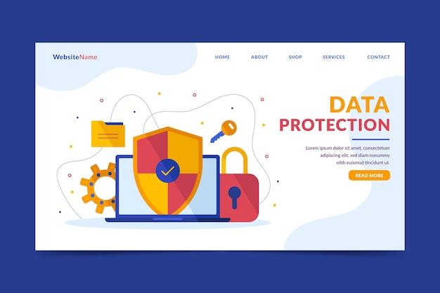 Pagina di destinazione della protezione dei dati Vettore Premium