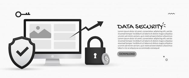 Sicurezza dei dati e concetto di protezione delle informazioni personali Vettore Premium