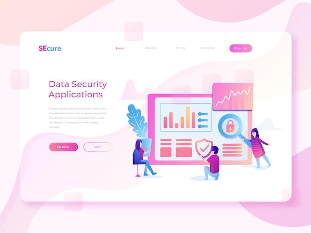 Illustrazione piana di web di sicurezza dei dati Vettore Premium