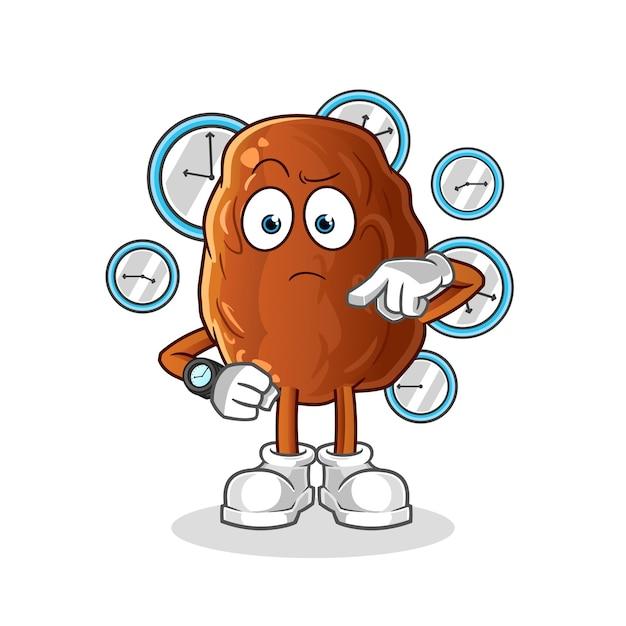 Data di frutta con illustrazione di cartone animato orologio da polso Vettore Premium