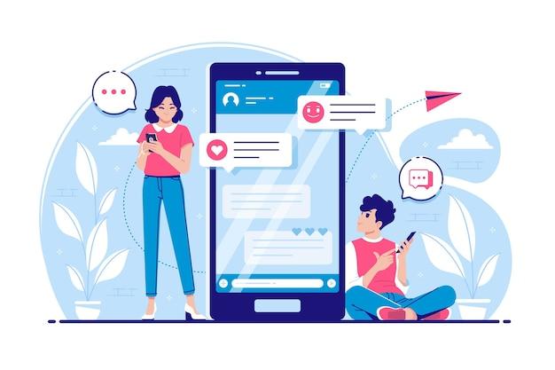 Incontri online concetto illustrazione Vettore Premium