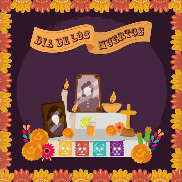 Giorno dei morti, foto di famiglia dell'altare candele fiori di calendula, illustrazione vettoriale celebrazione messicana Vettore Premium