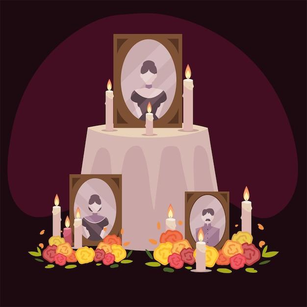 Giorno dei morti, altare con cornice foto fiori e candele celebrazione messicana Vettore Premium