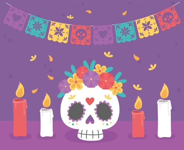 Giorno dei morti, catrina con fiori candele accese celebrazione messicana tradizionale. Vettore Premium
