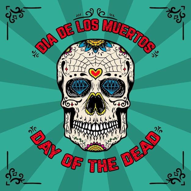 Giorno della morte. dia de los muertos. modello di pagina di intestazione con teschio di zucchero messicano su sfondo con motivi floreali. elemento per poster, carta, flyer, t-shirt. illustrazione Vettore Premium