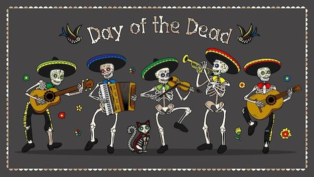 Volantini per invito a una festa in costume del giorno dei morti dia de los muertos Vettore Premium