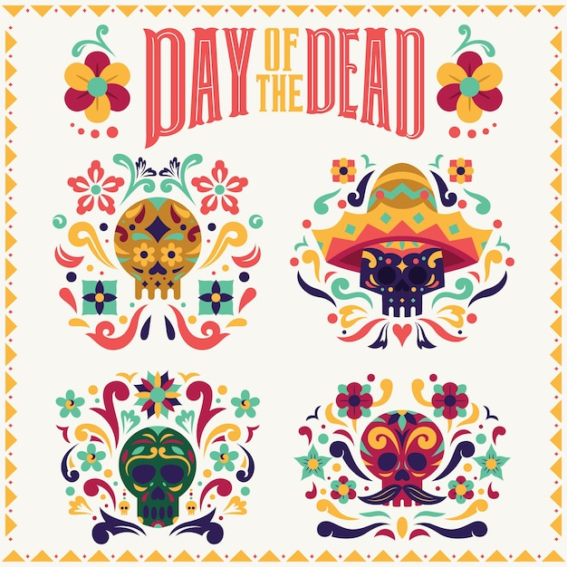 Day of the dead collezione di teschi dia de los muertos con tipografia Vettore Premium